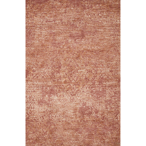modern deep pink area rug with distressed detail