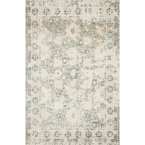 cream, tan, and blue distressed area rug