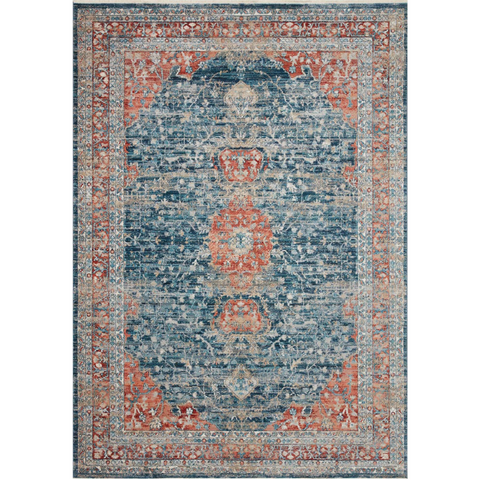 navy and red traditional area rug with floral detail
