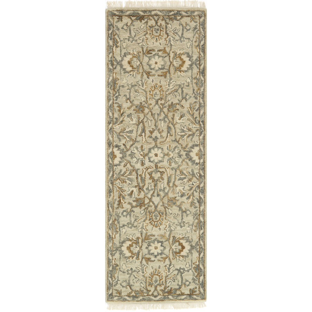 traditional tan runner rug with floral detail