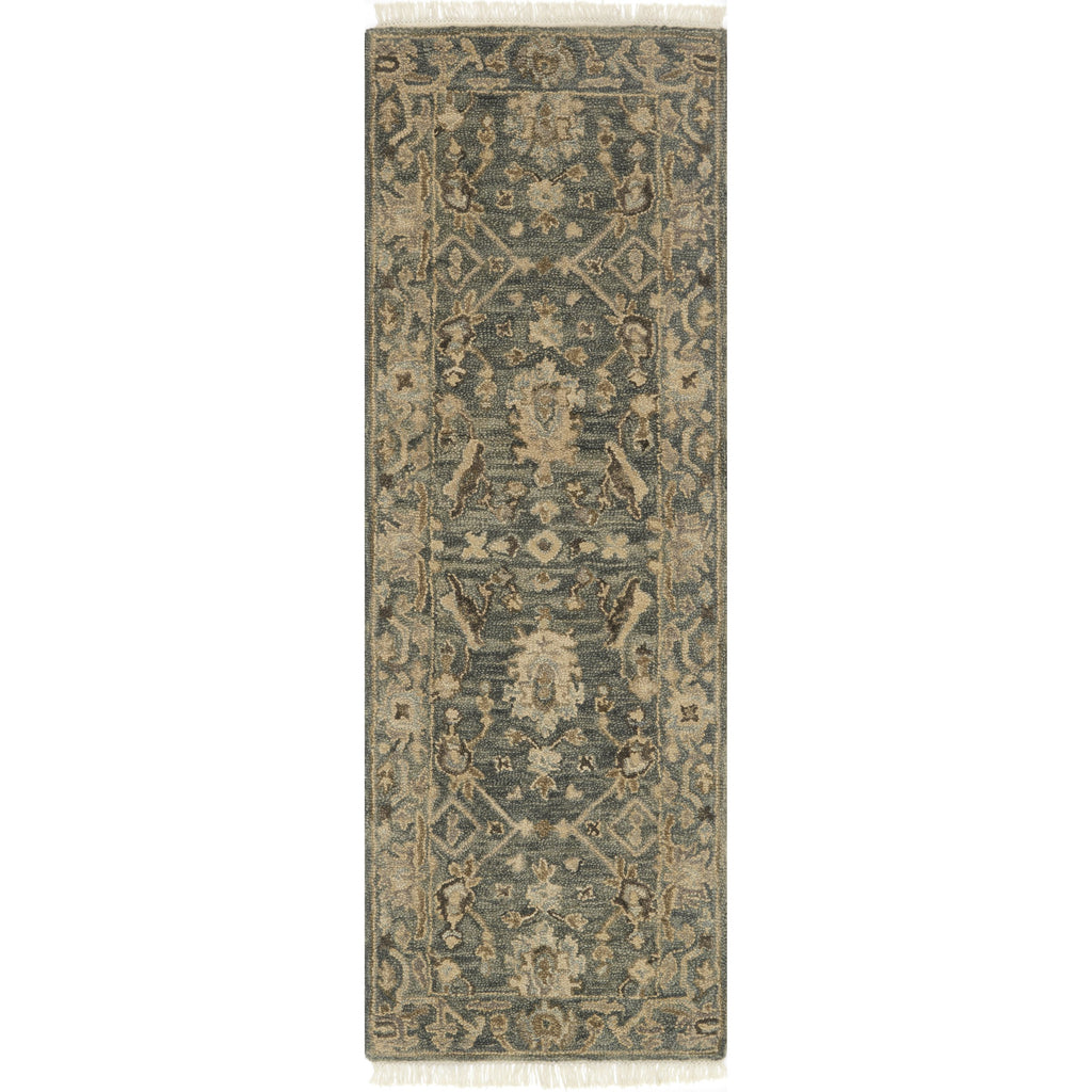 traditional slate grey runner rug with tan floral detail