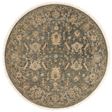 traditional slate grey circle rug with tan floral detail