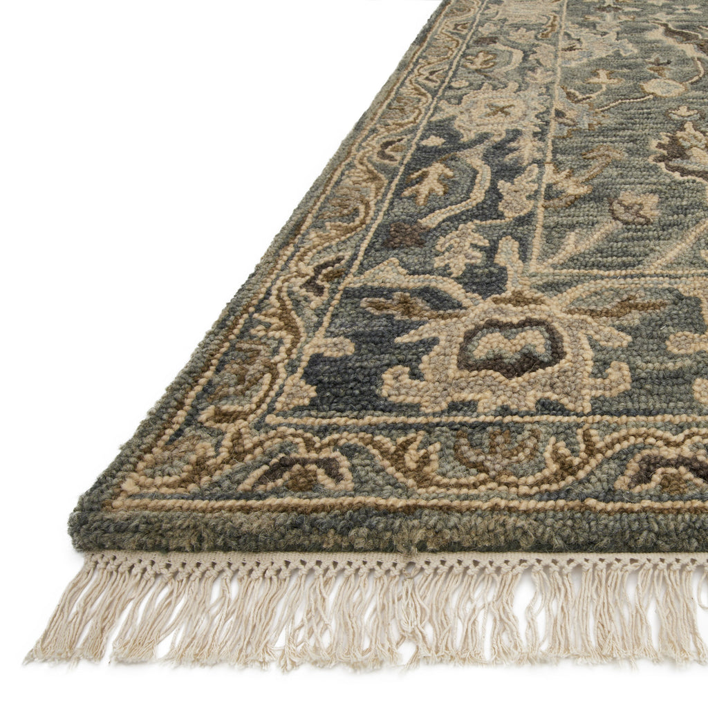 traditional slate grey rug with tan floral detail