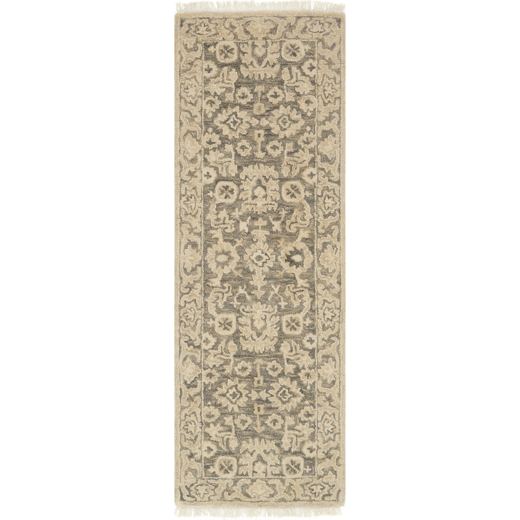 traditional tan runner rug with floral detail and dark grey undertones
