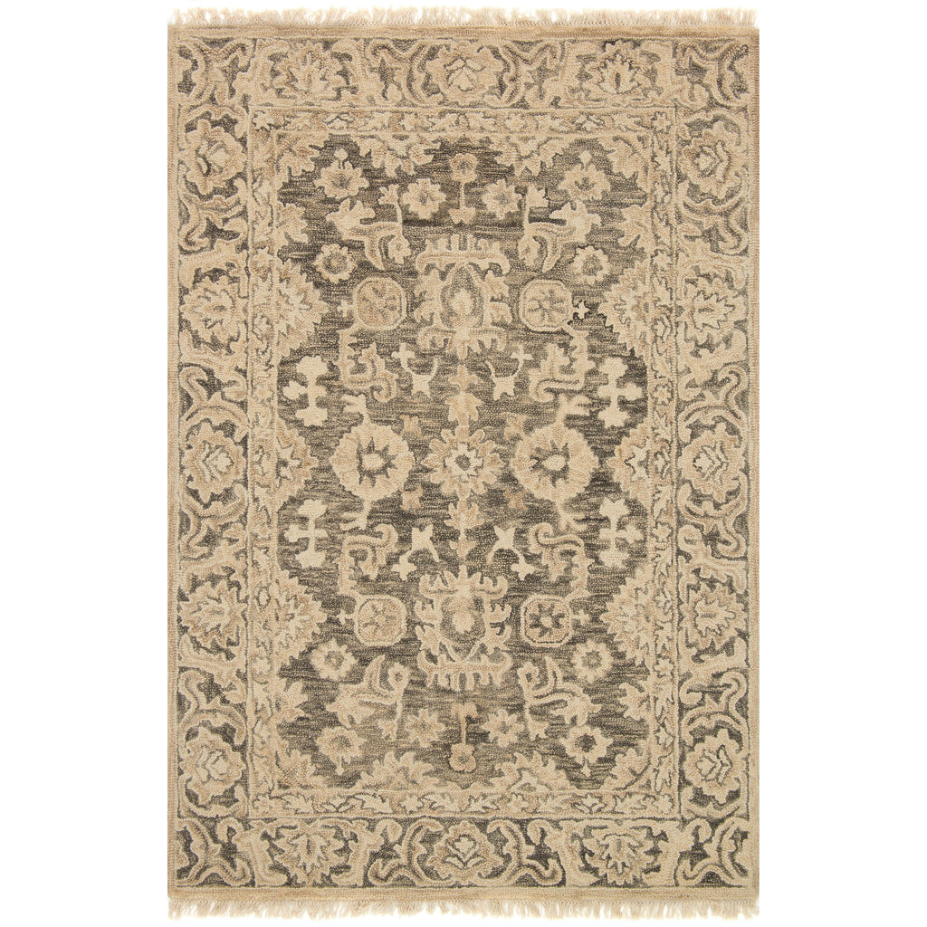 traditional tan rug with floral detail and dark grey undertones