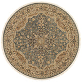 traditional beige circle rug with tan floral detail and slate blue detailed medallion