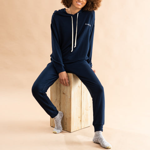 "navy loungewear set with ""homebody"" scripted on left chest"