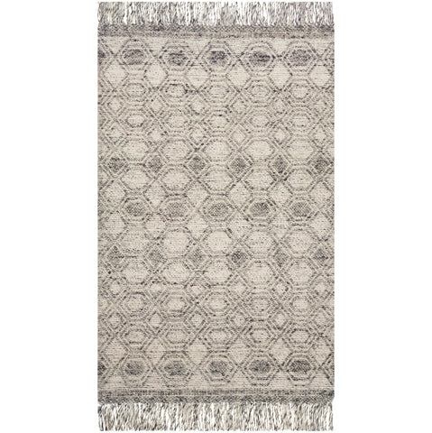 modern dark grey and light grey rug with geometric pattern and tassels