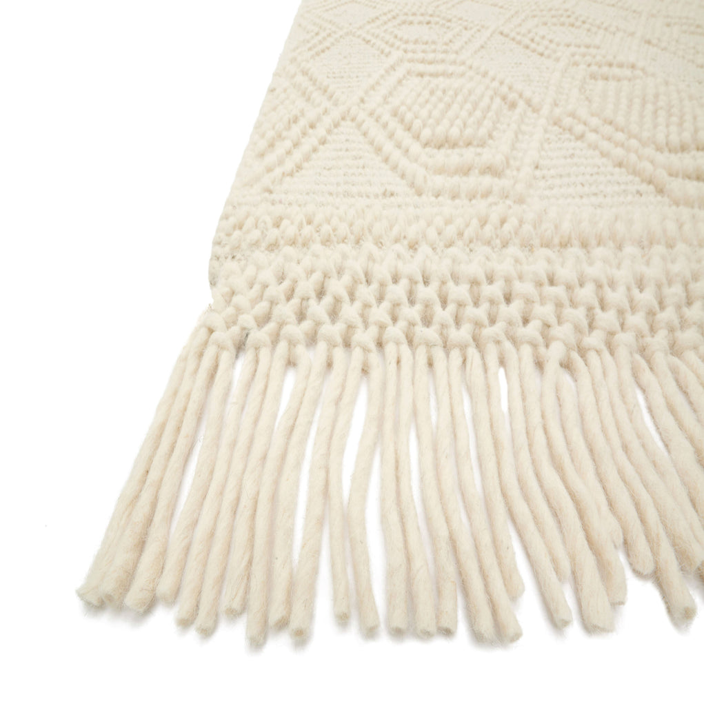 modern textured ivory rug with ivory tassels