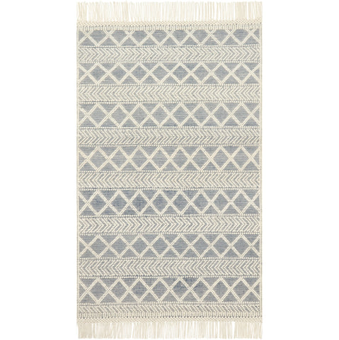 modern navy and ivory rug with white tassels