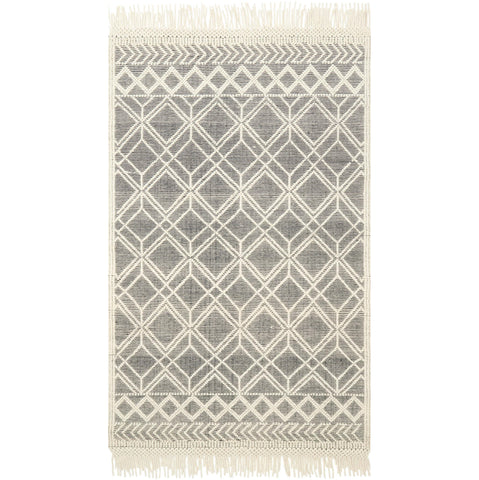 modern black and ivory rug with white tassels
