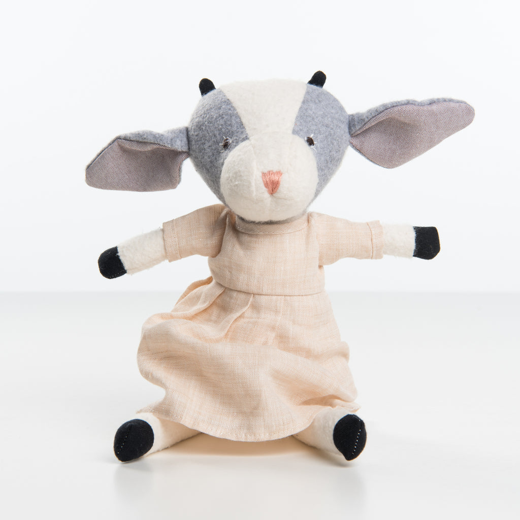 hazel village goat in dress stuffed animal