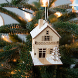small birch wood house christmas ornaments