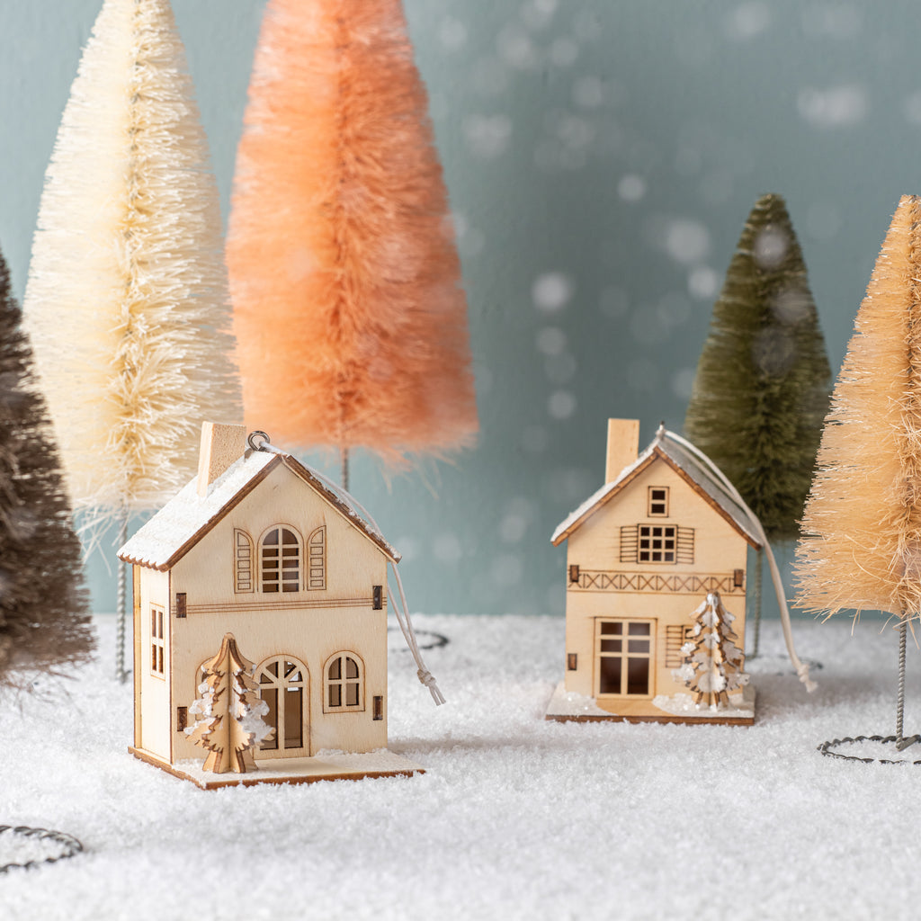 small birch house ornament
