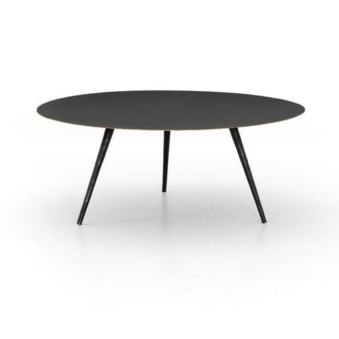 modern black metal circular coffee table