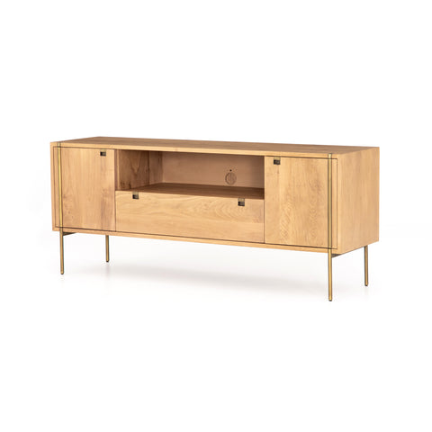 modern natural wooden media cabinet with brass hardware and legs
