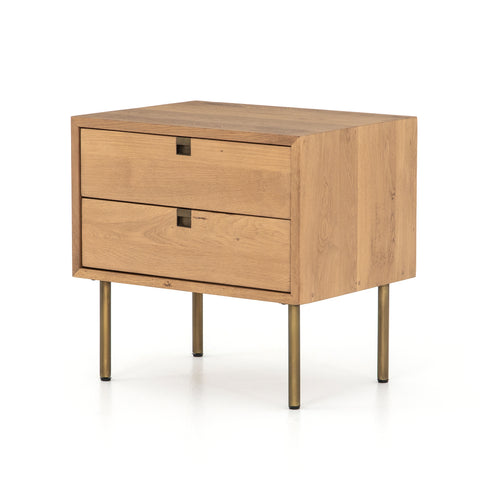 modern natural wooden nightstand with brass hardware and legs