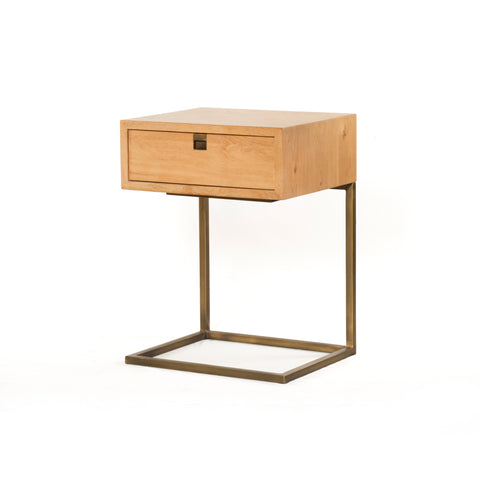 modern natural wooden nightstand with brass hardware and c-shaped base