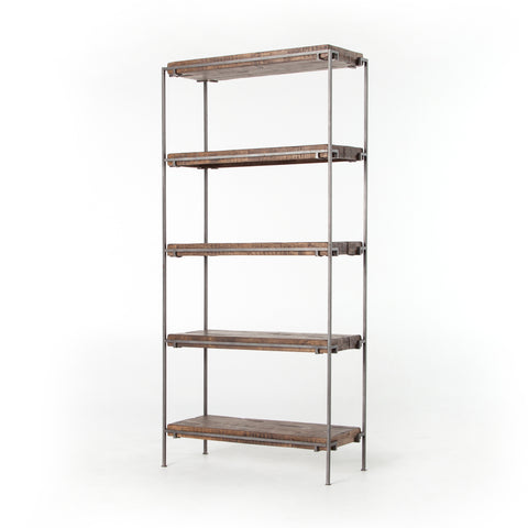 industrial metal and wood bookshelf