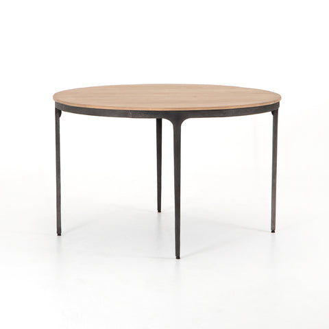 modern industrial metal round dining table with wooden top