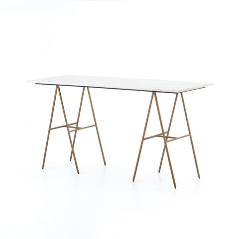 brass modern campaign desk with white marble top