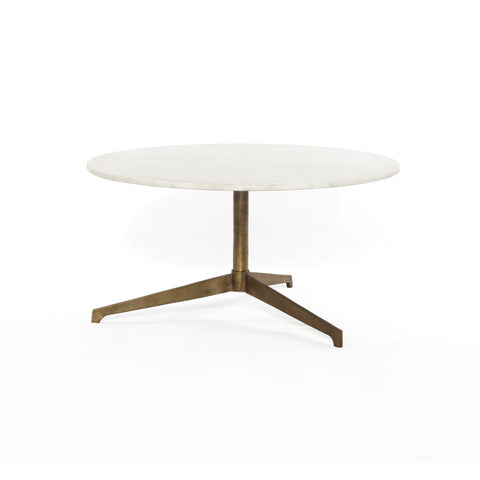 modern pedestal coffee table with antique brass base and white marble round top
