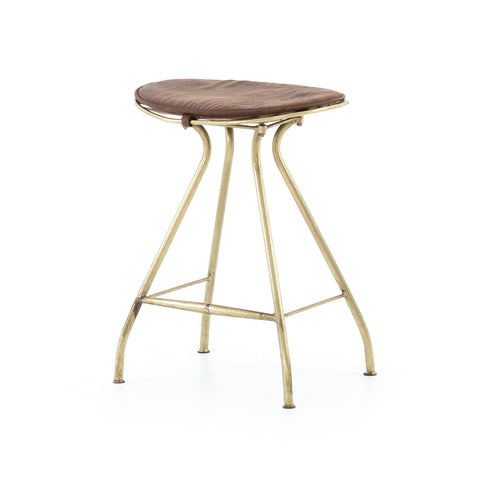 antique brass and leather counter stool