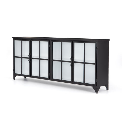 black metal sideboard with white interior and glass cabinet doors