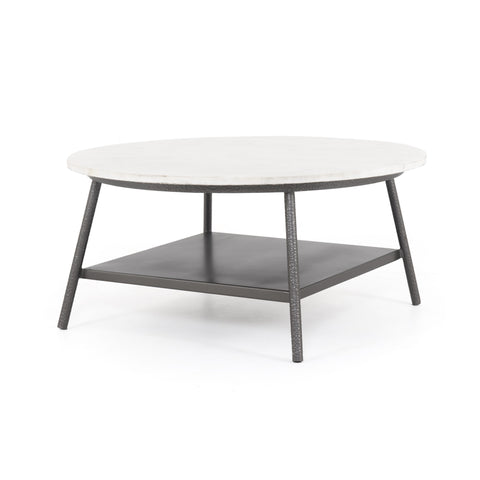 hammered metal coffee table with white oval marble top