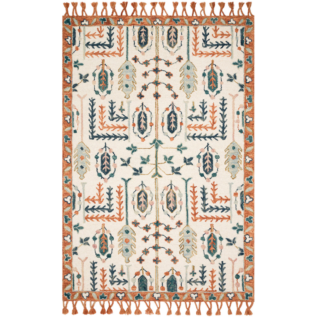 RUG WITH ORANGE AND BLUE GRAPHICS ON IVORY BASE COLOR