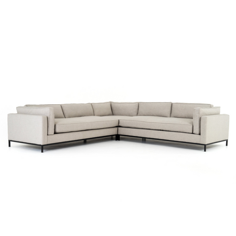 modern greige fabric l-shaped sectional with black metal base