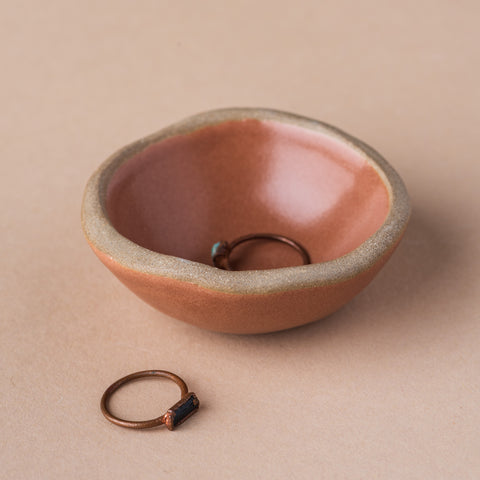 copper colored clay jewelry dish