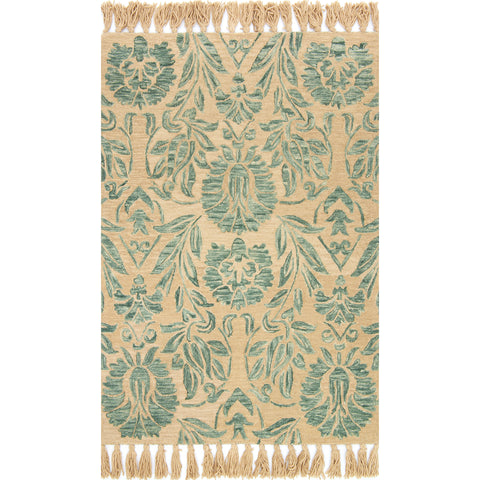 tan rug with aqua blue floral detail and tan tassels