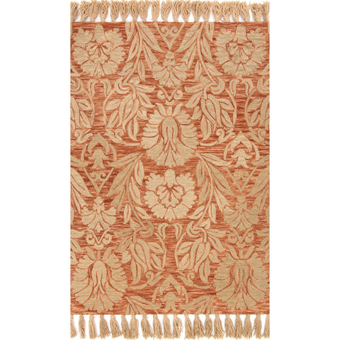 orange rug with large tan floral detail and tassels