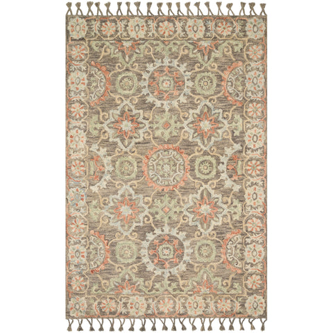 distressed ornate rug with sandy brown base and light blue and orange detail