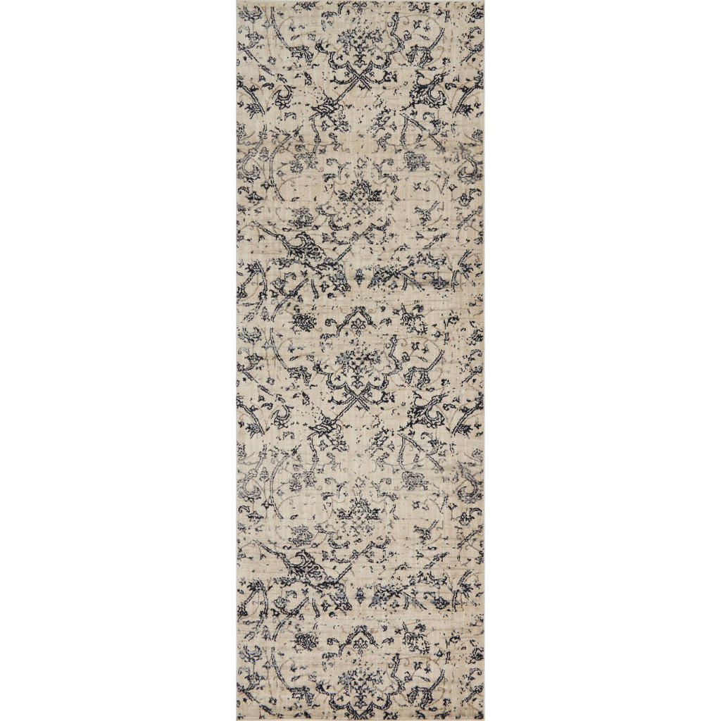 distressed cream runner rug with dark grey floral detail