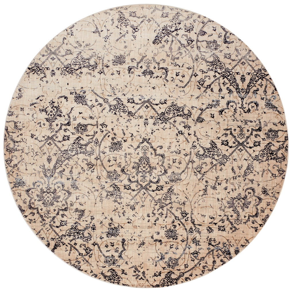 distressed cream circle area rug with dark grey floral detail