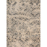 distressed cream area rug with dark grey floral detail