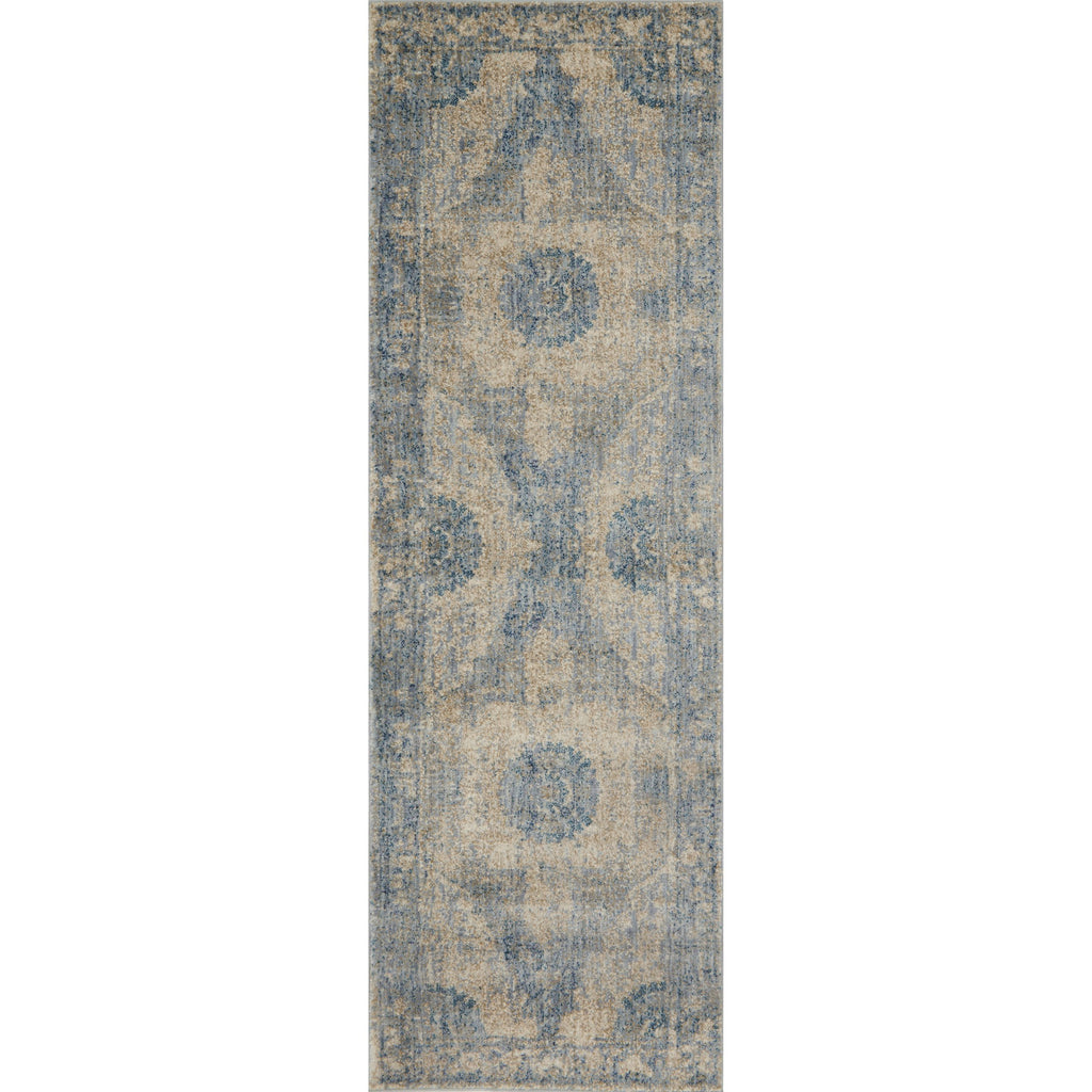 distressed cream runner rug with blue traditional detail