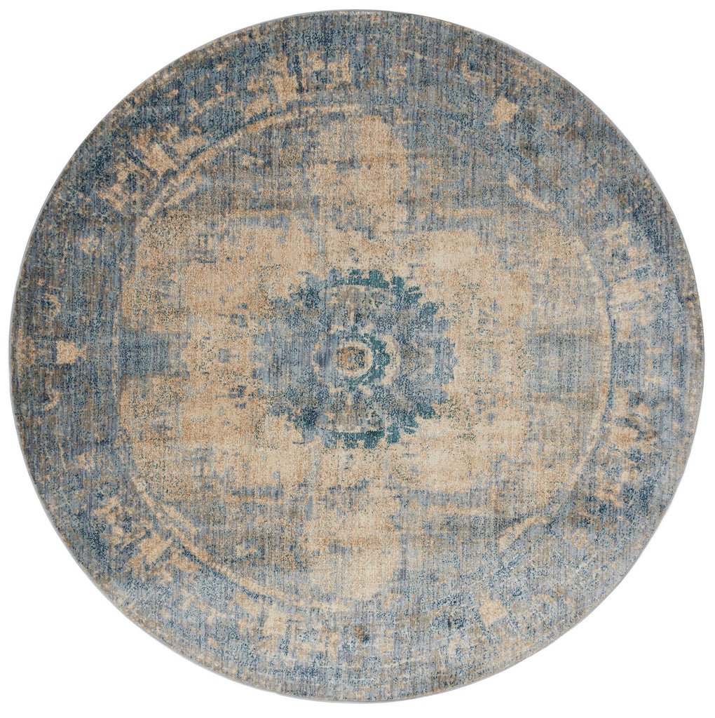 distressed cream circle area rug with blue traditional detail