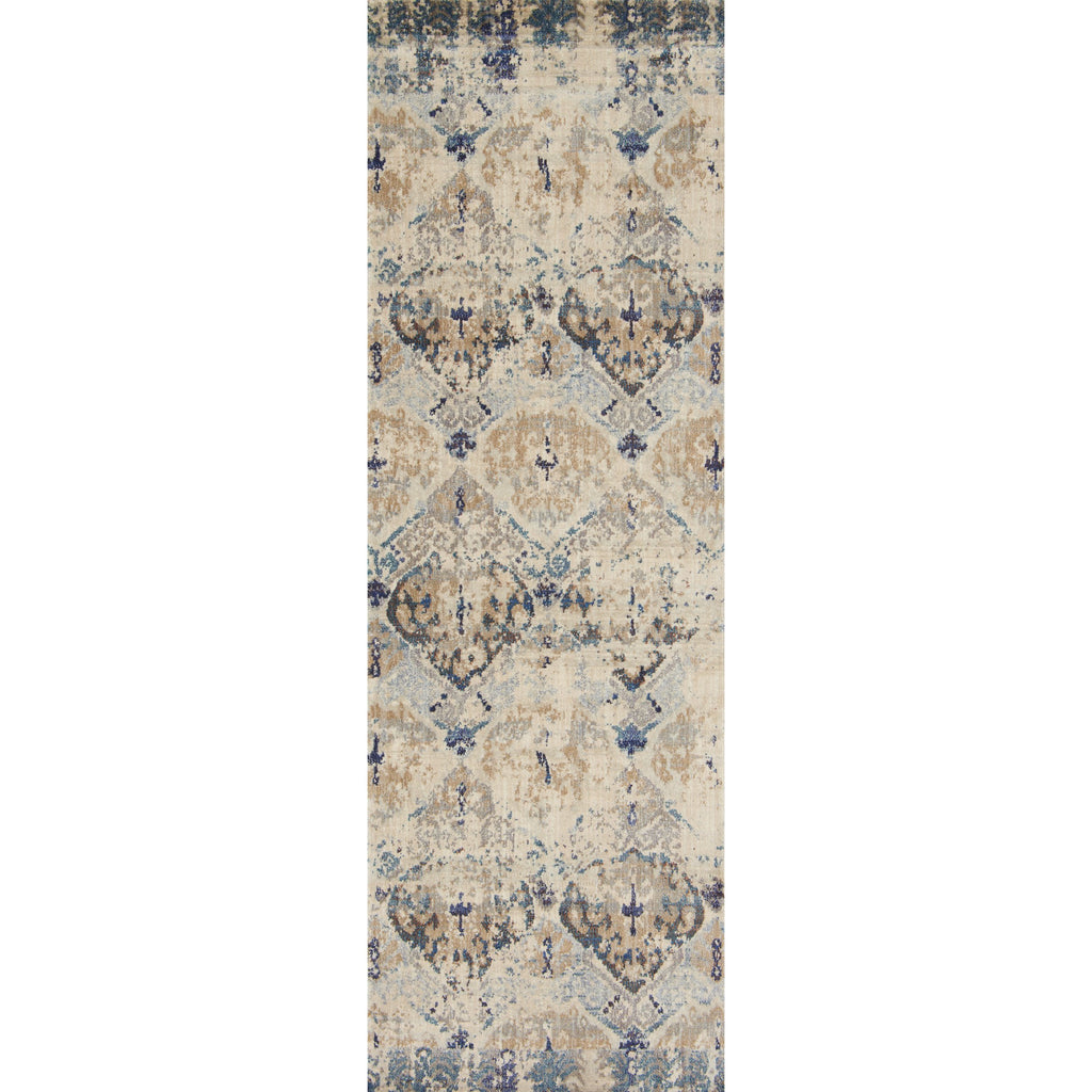 distressed cream runner rug with dark grey, blue, and beige detail