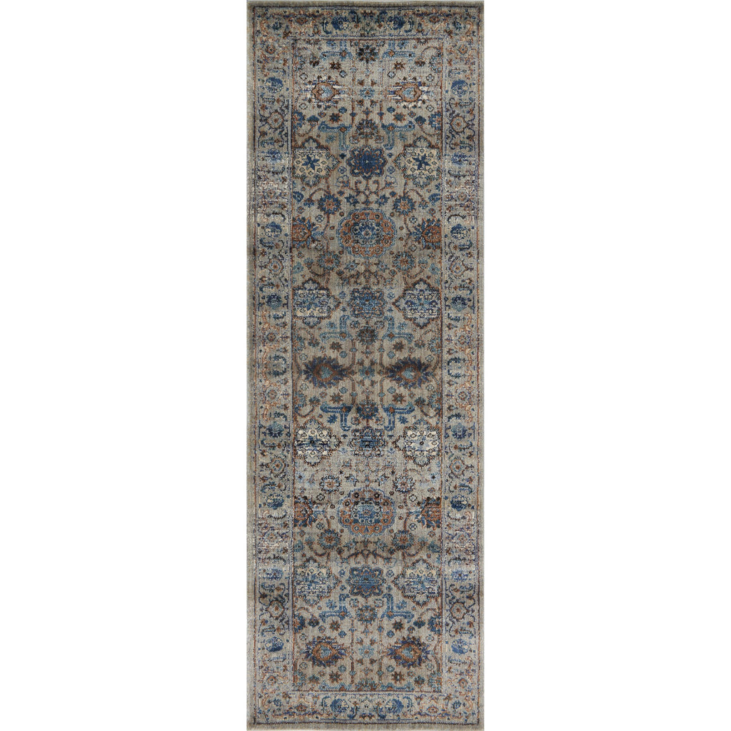 distressed dark slate runner rug with blue and grey floral detail