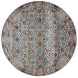 distressed dark slate circle area rug with blue and grey floral detail
