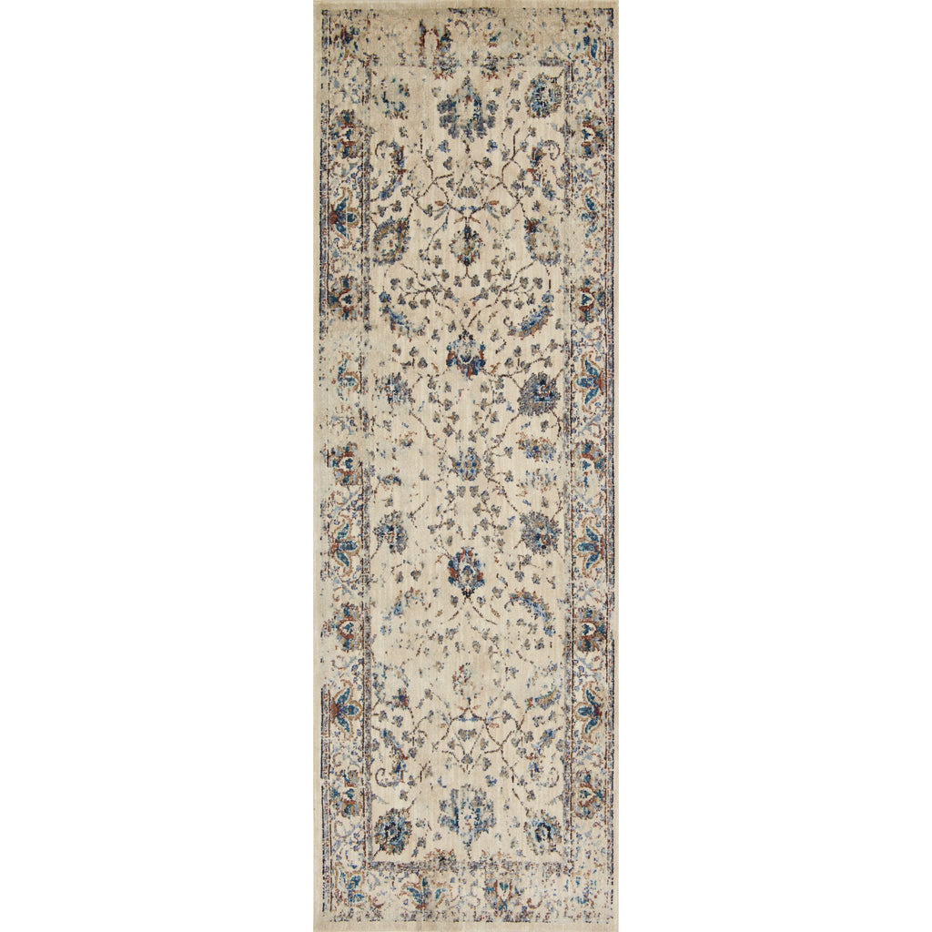 distressed cream runner rug with dark multi-colored floral detail