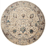 distressed cream circle area rug with dark multi-colored floral detail