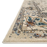 distressed cream area rug with dark multi-colored floral detail