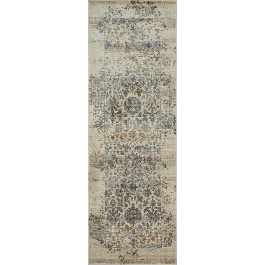 cream and grey distressed runner rug with traditional detail