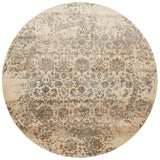 cream and grey distressed circle area rug with traditional detail