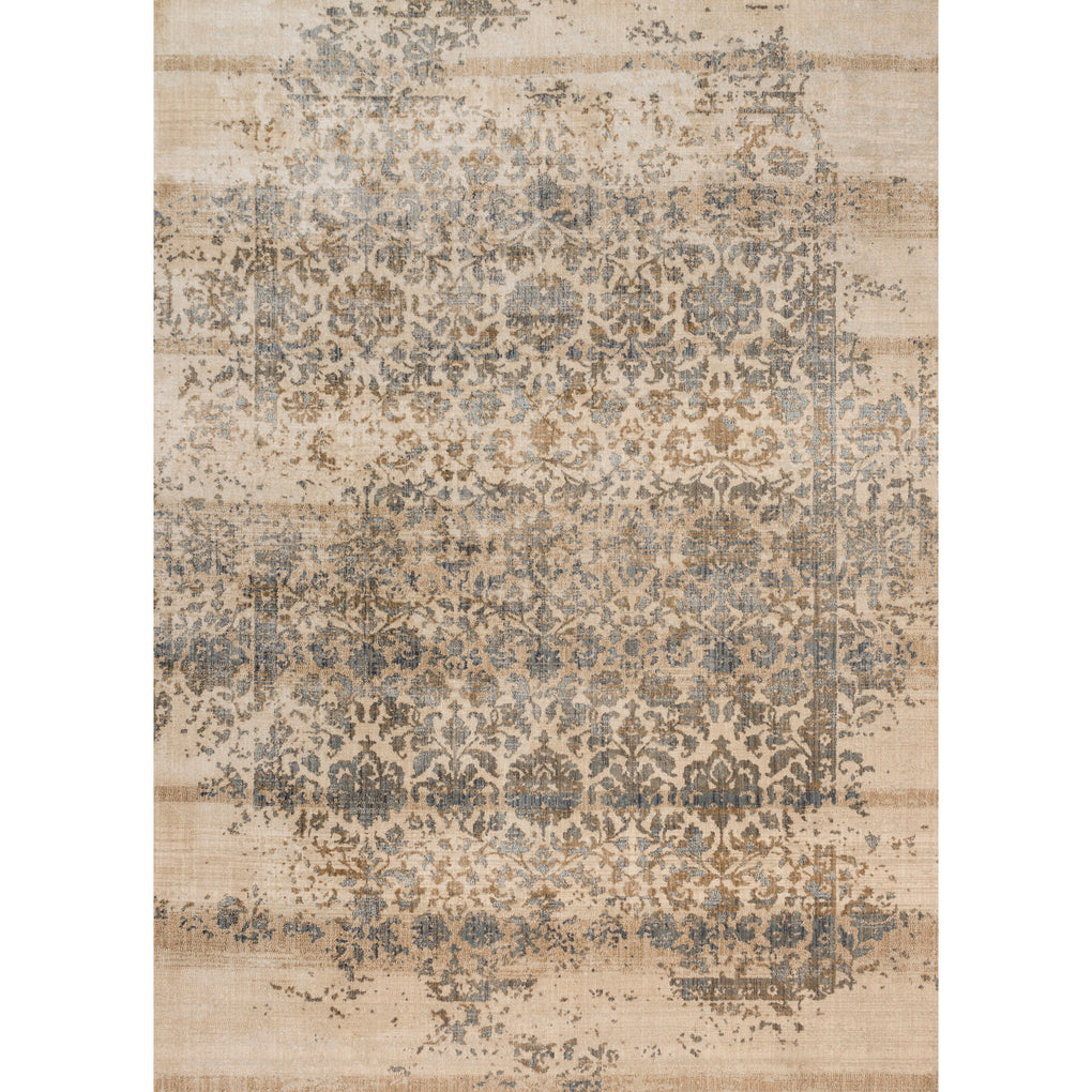 cream and grey distressed area rug with traditional detail