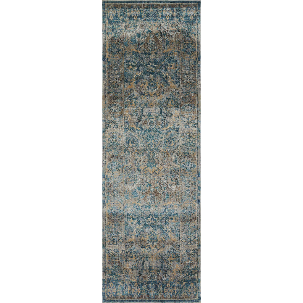 dark aqua blue and grey traditional runner rug with floral detail